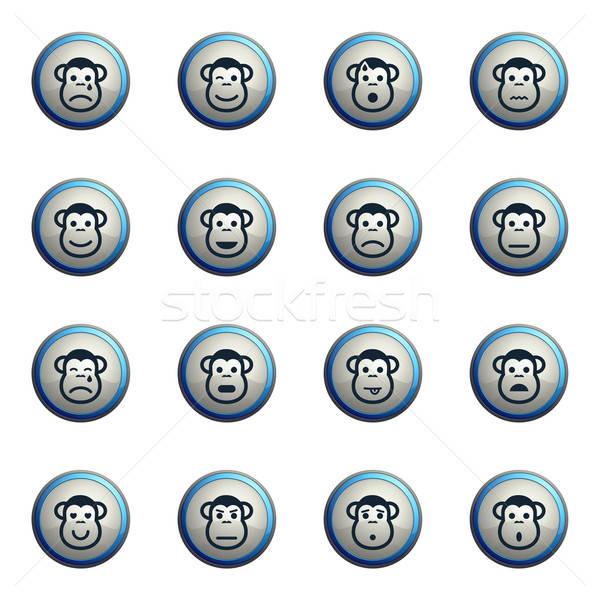 Mono emociones simplemente iconos web Foto stock © ayaxmr