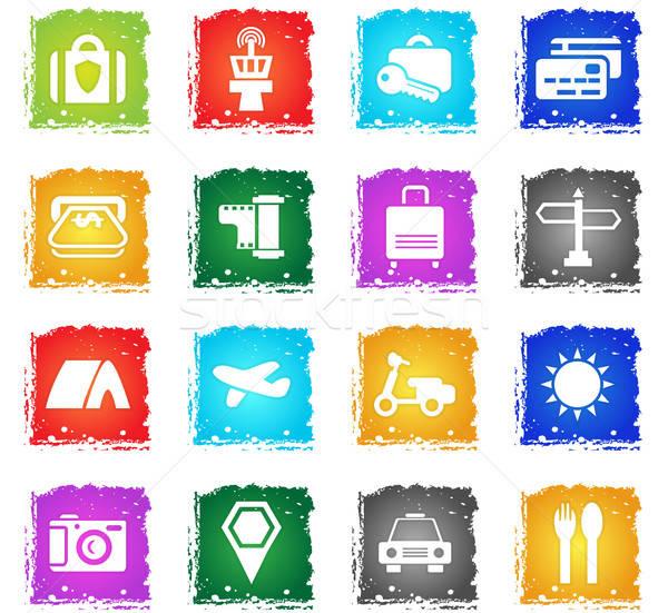 Сток-фото: путешествия · вектора · веб-иконы · Гранж · стиль