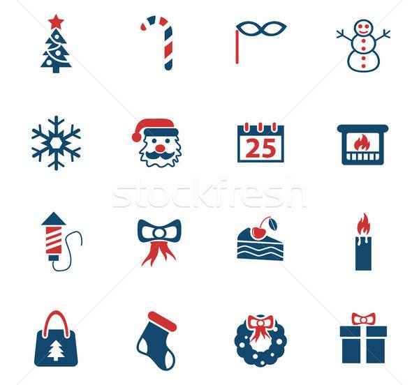 Stock fotó: Karácsony · ikon · gyűjtemény · webes · ikonok · felhasználó · interfész · terv