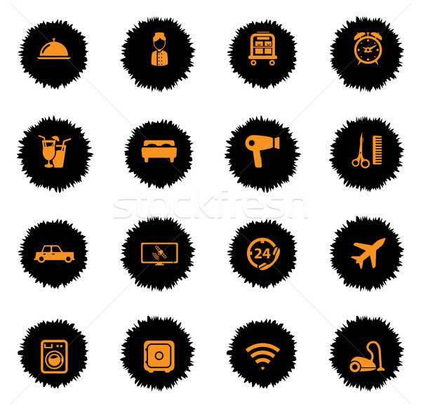Hotel eenvoudig iconen vector web gebruiker Stockfoto © ayaxmr