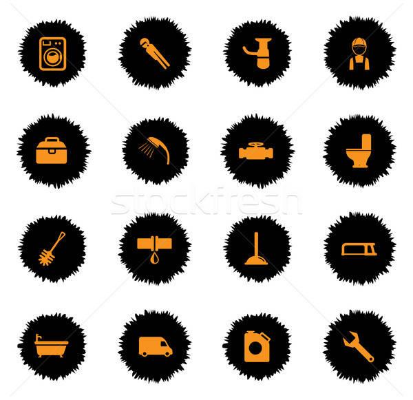 Sanitair dienst eenvoudig iconen vector web Stockfoto © ayaxmr