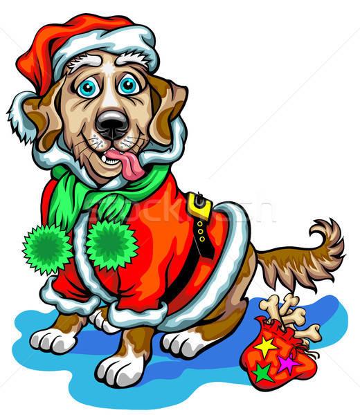 Kutya karácsony ajándékok mikulás kép fa Stock fotó © ayaxmr