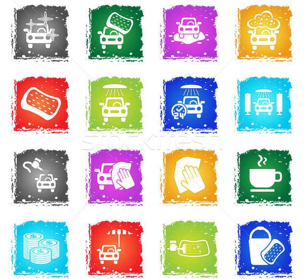 Lomtár szolgáltatás ikon gyűjtemény webes ikonok grunge stílus Stock fotó © ayaxmr
