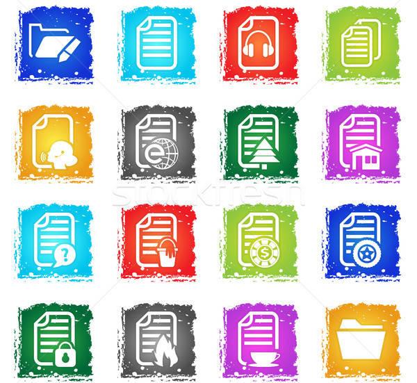 Documentos vector iconos de la web grunge estilo Foto stock © ayaxmr