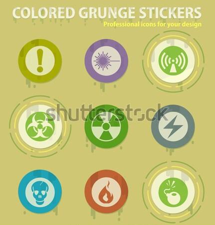 Peligro signo vector iconos web Foto stock © ayaxmr
