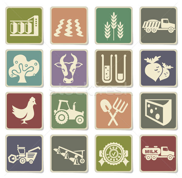 Agricultural icons set Stock photo © ayaxmr