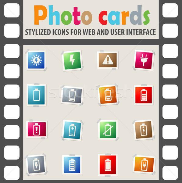 Bateria os ícones do web usuário interface projeto Foto stock © ayaxmr