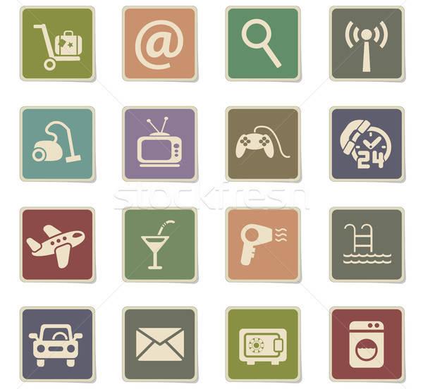 Stock fotó: Hotel · szolgáltatás · ikon · gyűjtemény · webes · ikonok · felhasználó · interfész