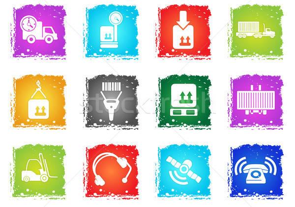 Logisztika ikon gyűjtemény egyszerűen szimbólumok grunge stílus Stock fotó © ayaxmr
