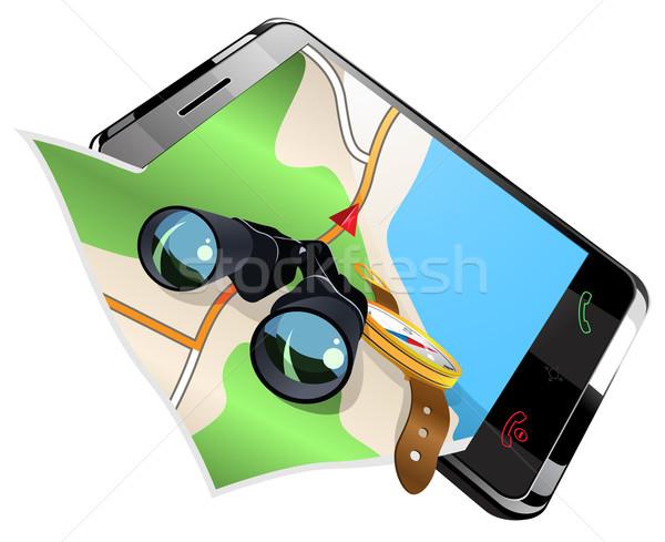Navegação eps 10 mapa móvel Foto stock © ayaxmr