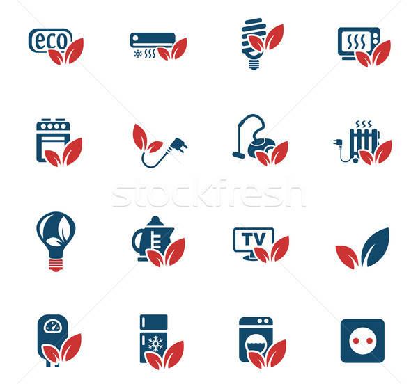 Foto stock: Eco · os · ícones · do · web · usuário · interface · projeto