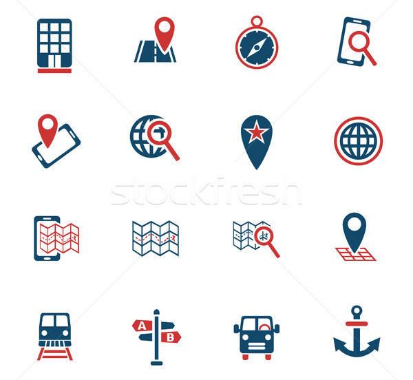 Nawigacja Pokaż web ikony użytkownik interfejs Zdjęcia stock © ayaxmr