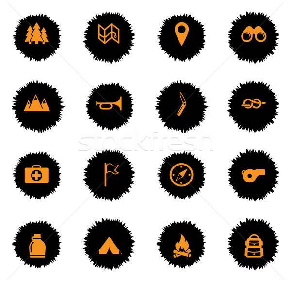Jongen verkenner eenvoudig iconen vector web Stockfoto © ayaxmr