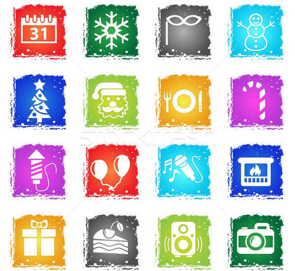Año nuevo iconos de la web grunge estilo usuario Foto stock © ayaxmr