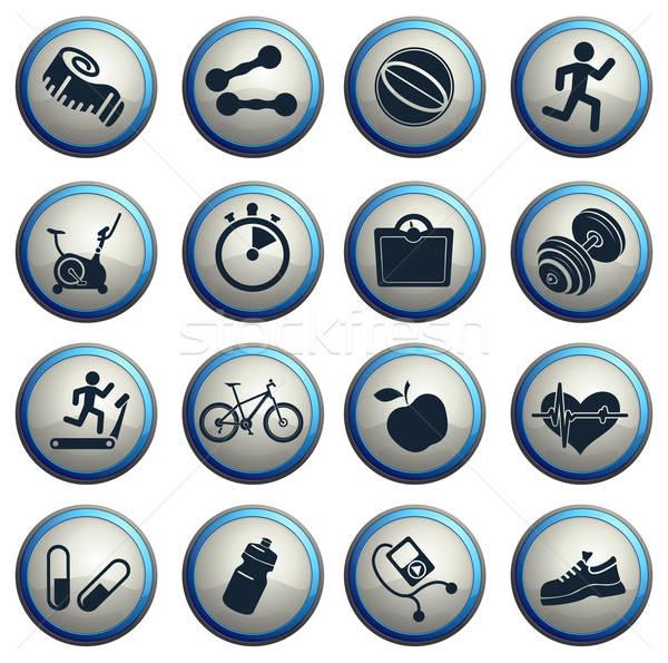 Stock fotó: Fitnessz · ikon · szett · háló · felhasználó · interfész · férfi