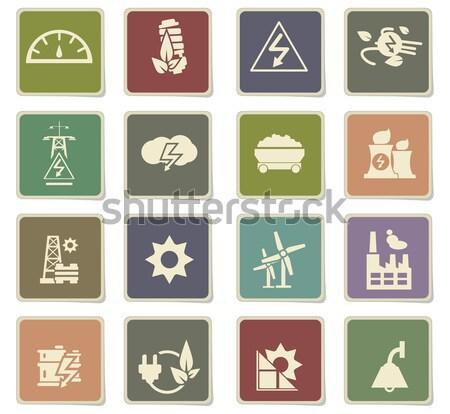 Elektromosság ikon szett egyszerűen ikonok háló felhasználó Stock fotó © ayaxmr