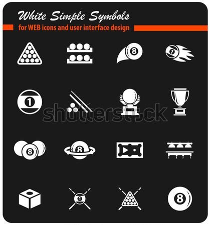 Biliárd ikon szett egyszerűen ikonok háló felhasználó Stock fotó © ayaxmr