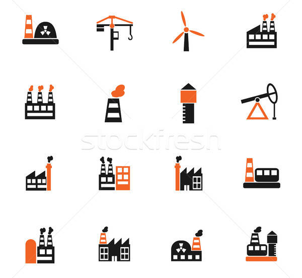 industrial building icon set Stock photo © ayaxmr