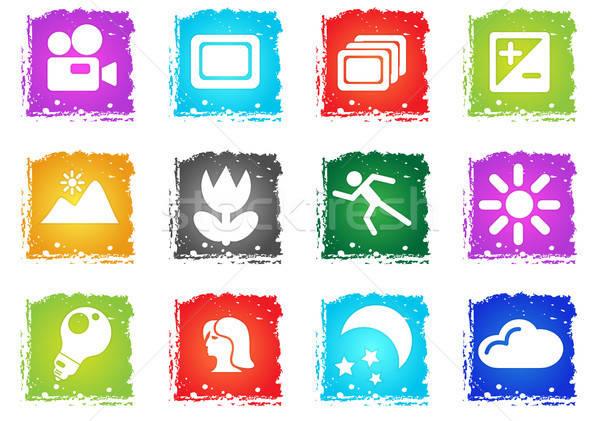 Modes of Photo Silhouette Icons Stock photo © ayaxmr