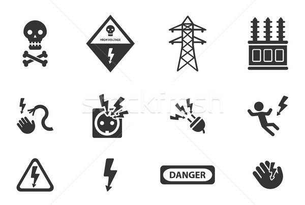 Nagyfeszültség egyszerűen ikonok szimbólum webes ikonok biztonság Stock fotó © ayaxmr