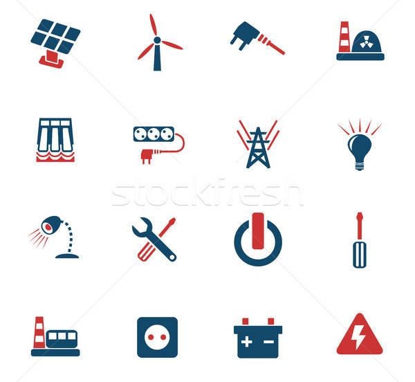 Electricidad iconos de la web usuario interfaz diseno Foto stock © ayaxmr