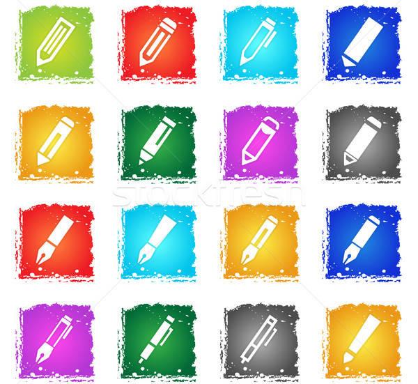 Ikon gyűjtemény vektor webes ikonok grunge stílus felhasználó Stock fotó © ayaxmr