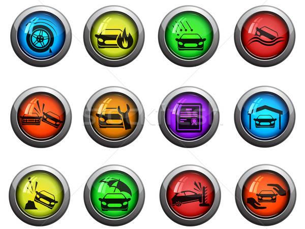 Car insurance icons set Stock photo © ayaxmr