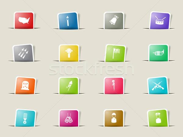 Memorial day simply icons Stock photo © ayaxmr