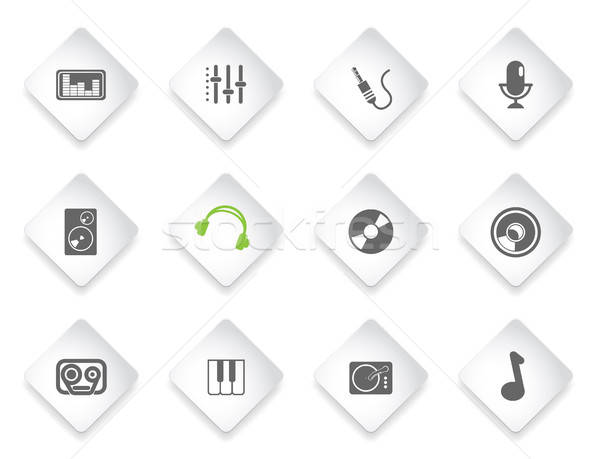Stock photo: Audio and music simple vector icons