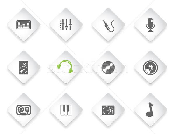 аудио музыку простой вектора иконки просто Сток-фото © ayaxmr