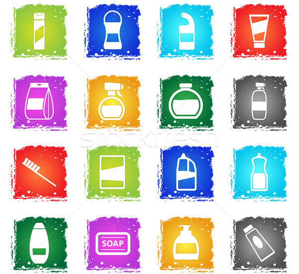 Vegyszerek ikon szett sziluett egyszerűen ikonok grunge Stock fotó © ayaxmr