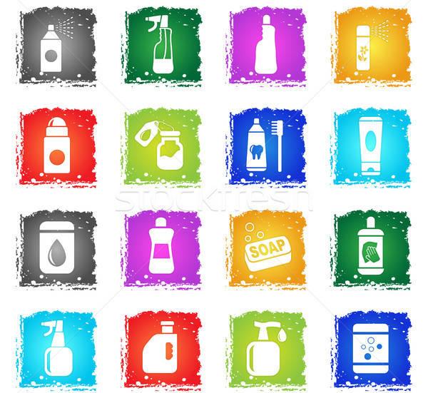 Háztartás vegyszerek ikon gyűjtemény webes ikonok grunge stílus Stock fotó © ayaxmr