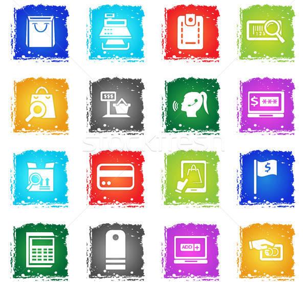 Ekereskedelem ikon gyűjtemény vektor webes ikonok grunge stílus Stock fotó © ayaxmr