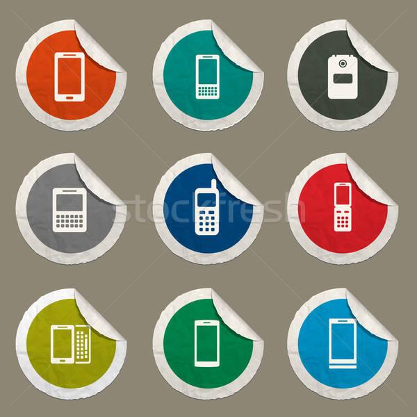 Telefoon iconen vector web gebruiker interface Stockfoto © ayaxmr