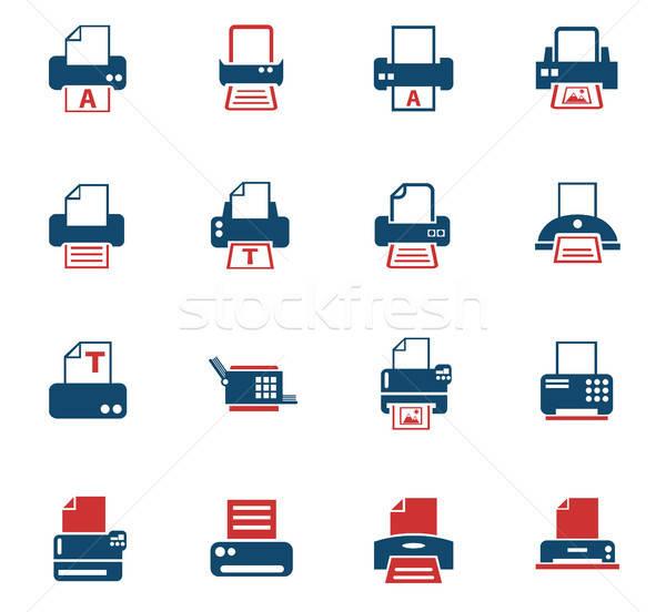 Nyomtatott ikon gyűjtemény webes ikonok felhasználó interfész terv Stock fotó © ayaxmr