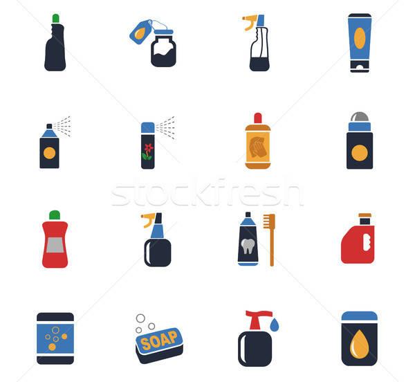 Háztartás vegyszerek ikon gyűjtemény webes ikonok felhasználó interfész Stock fotó © ayaxmr