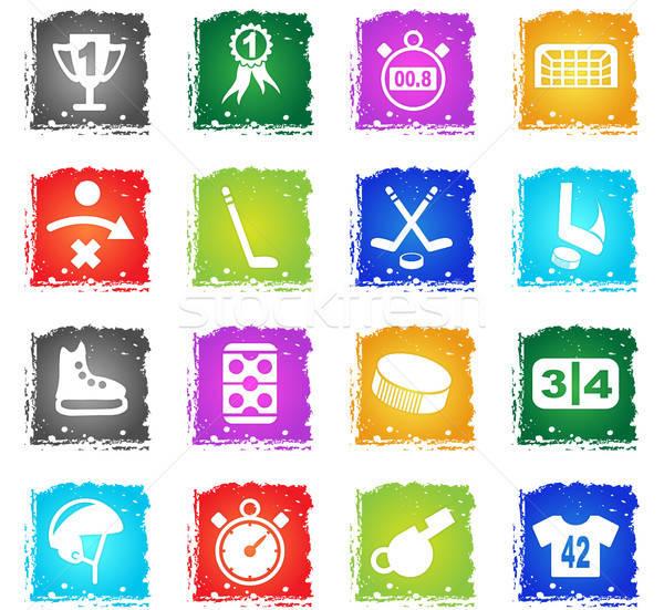 Hockey eenvoudig iconen symbool grunge stijl Stockfoto © ayaxmr