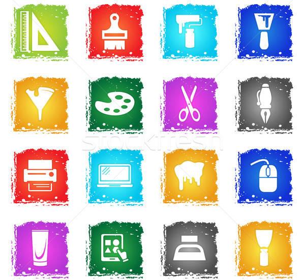 art tools icon set Stock photo © ayaxmr