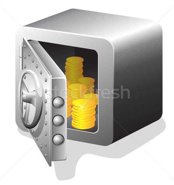 Open veilig gouden munten geïsoleerd witte deur Stockfoto © ayaxmr