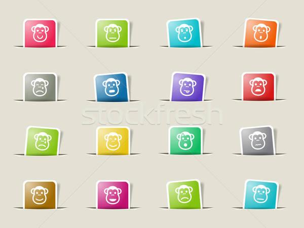 обезьяны просто иконки веб Сток-фото © ayaxmr