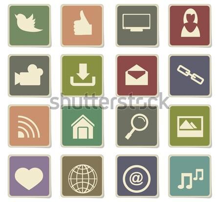 Social media icons set Stock photo © ayaxmr