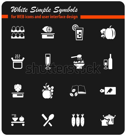 étel konyha ikon szett egyszerűen ikonok háló Stock fotó © ayaxmr