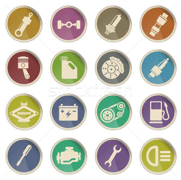 Autó szolgáltatás webes ikonok címke ikonok háló Stock fotó © ayaxmr