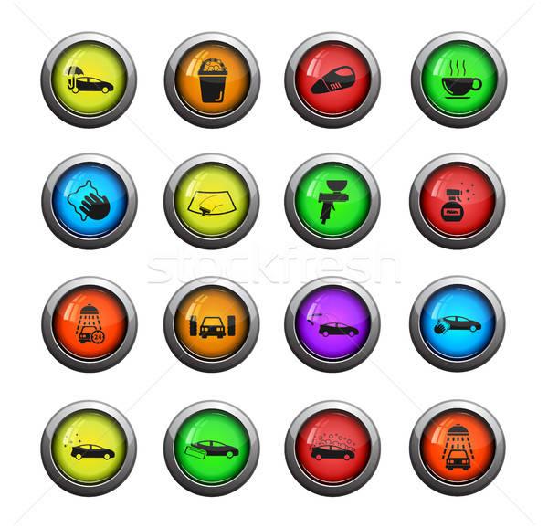 автомойку просто иконки цвета икона веб Сток-фото © ayaxmr