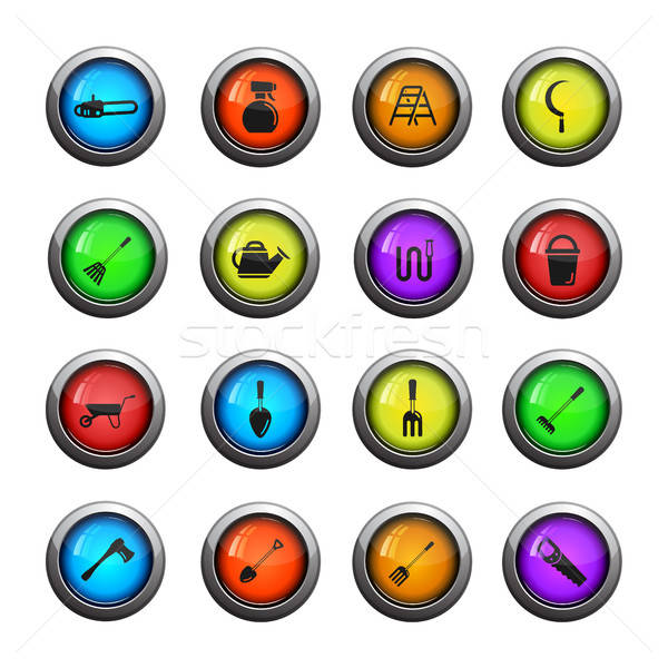 Tuin tools eenvoudig iconen web Stockfoto © ayaxmr
