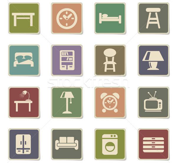 Mobiliário os ícones do web usuário interface projeto Foto stock © ayaxmr