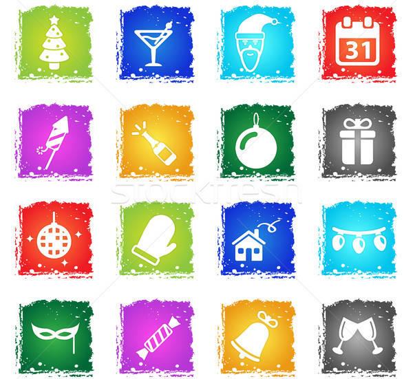 Foto stock: Ano · novo · simplesmente · ícones · símbolos · grunge · estilo