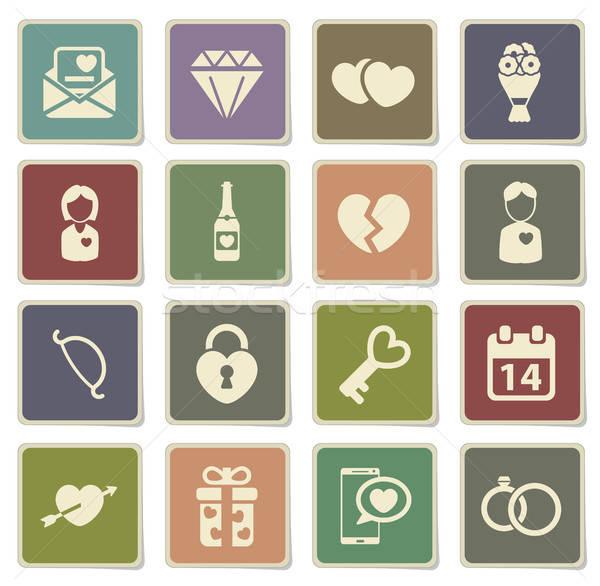 Valentijnsdag eenvoudig iconen vector web gebruiker Stockfoto © ayaxmr
