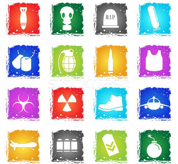Guerra símbolos vetor os ícones do web grunge Foto stock © ayaxmr