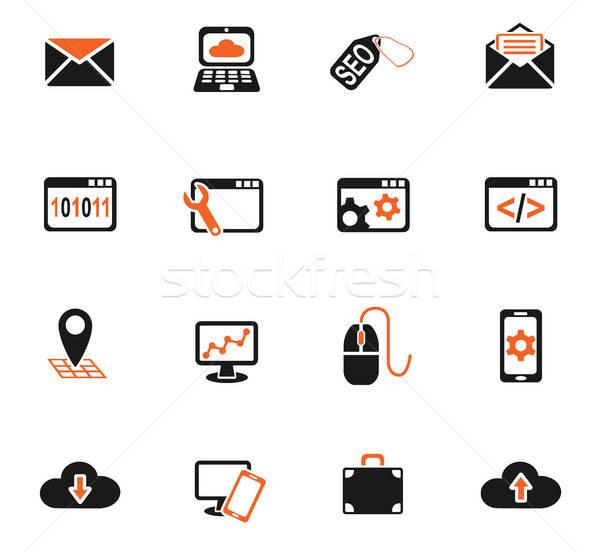 Seo desenvolvimento os ícones do web usuário interface Foto stock © ayaxmr